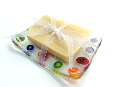 Rainbow Millefiori Soap Dish Fused Glass Set