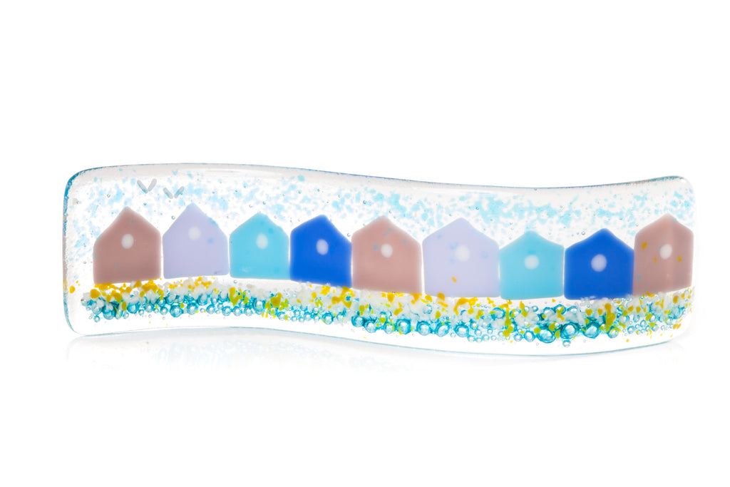 Beach Huts Fused Glass Free-standing Wave for your Window Sill or Mantlepiece