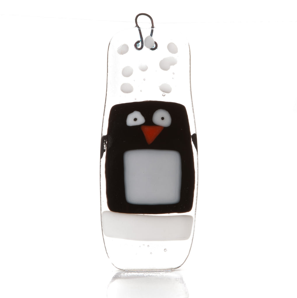 Snowy Penguin Fused Glass Christmas Decoration