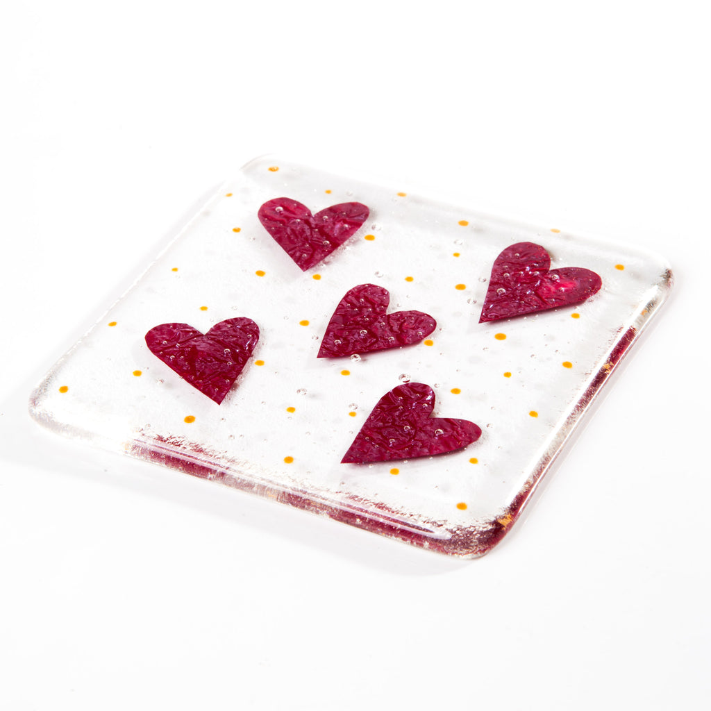 Little Love Hearts Fused Glass Coaster