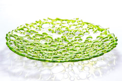 Spring Green Fused Glass Lacy Sculptural Bowl