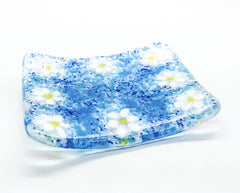Blue Ditsy Daisy Fused Glass Soap Dish Gift Set with Natural Soap