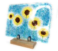 Sunflower fused glass art panel on wooden stand