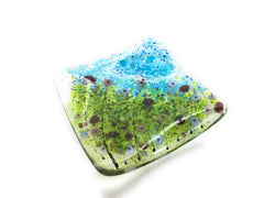 Lavender Garden fused glass trinket dish perfect for earrings, tea light candles, keys, snacks, bits & bobs