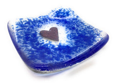 Cobalt blue heart trinket candle dish