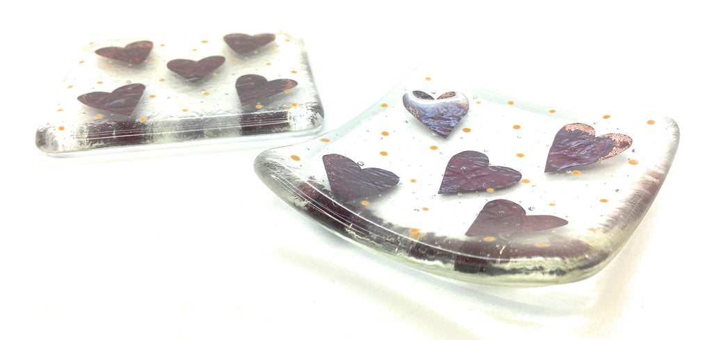 Little hearts coaster & trinket dish gift set - perfect for your desk, bedside or dressing table