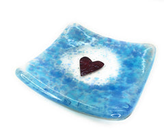 Duck egg blue fused glass heart trinket candle dish