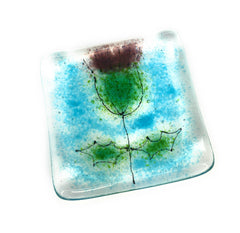 Scottish Thistle Fused Glass Trinket Dish