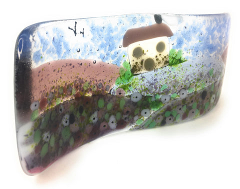 French Lavender Fields - fused glass wave sculpture - inspired by Provence in France