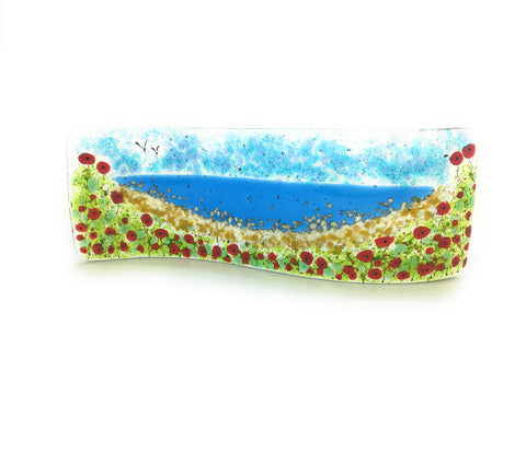 Poppy Bay fused glass freestanding wave