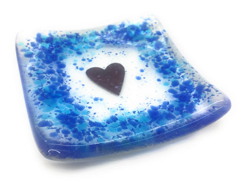 Blue and turquoise heart trinket candle dish