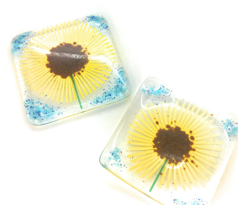 Sunflower trinket dish & coaster set - perfect teacher's gift - for your desk, bedside table or dressing table