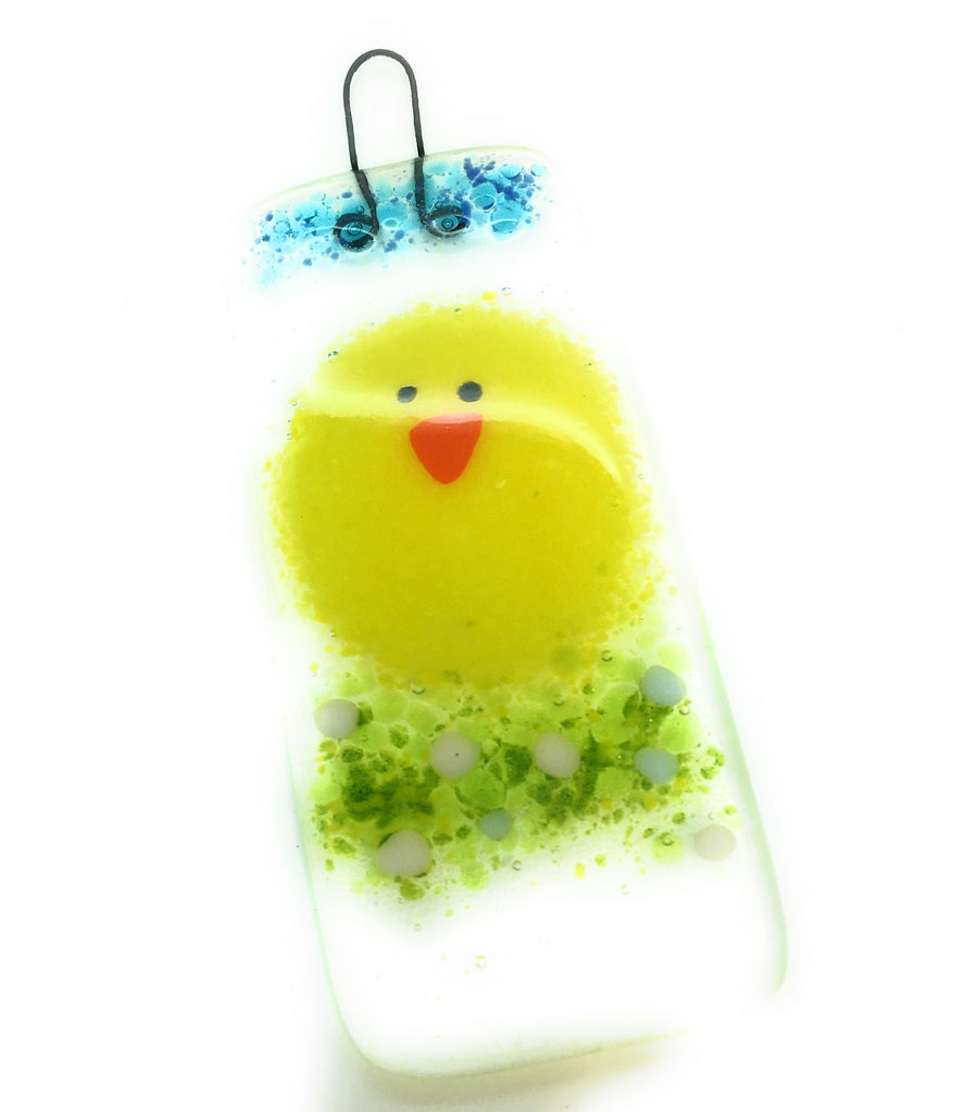 Easter chick fused glass decoration - hanging lightcatcher
