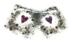 Grey hearts fused glass coasters - set of two