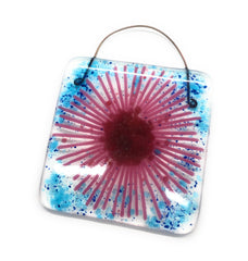 Pink gerbera daisy fused glass lightcatcher