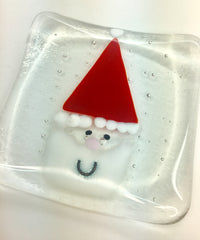 Santa fused glass dish for tea lights, snacks & mince pie