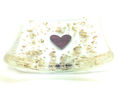 Gold glitter fused glass dish