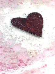 Pink heart fused glass coaster