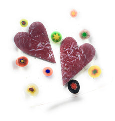 Hearts & Flowers Fused Glass Trinket Dish
