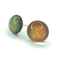Copper Dichroic Glass Sparkly Stud Earrings on Sterling Silver 925