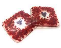 Red heart fused glass coasters - set of two