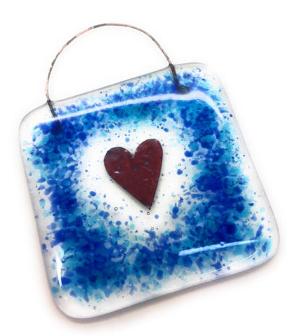Blue & Turquoise Heart Fused Glass Square Lightcatcher