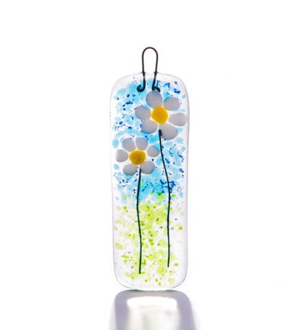 Daisy Fused Glass Slim Light Catcher Decoration