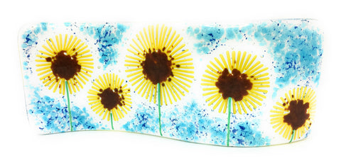 Sunflower fused glass wave - handmade sculptured light catcher