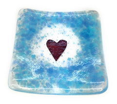 Duck egg blue heart trinket candle dish