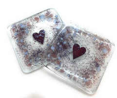 Plum & purple love heart fused glass coasters - set of two