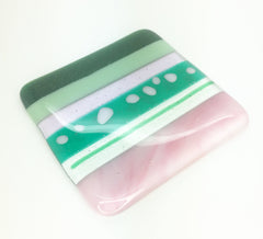 Watermelon pink & green stripy fused glass coaster