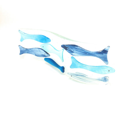 Blue Fish Fused Glass Art Wave Light-catcher