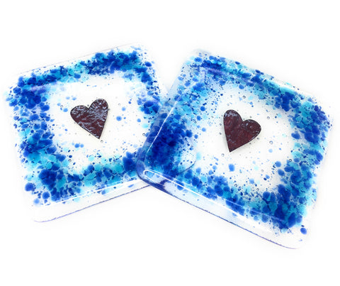 Blue and turquoise love heart glass coasters - set of two