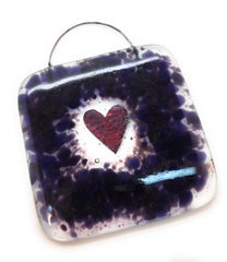 Purple & plum heart square lightcatcher