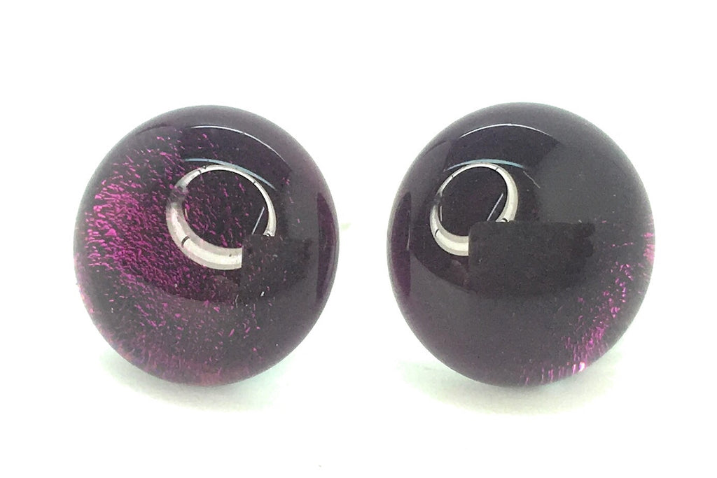 Purple Plum Dichroic Fused Glass Stud Earrings on Sterling Silver 925 Posts and Backs