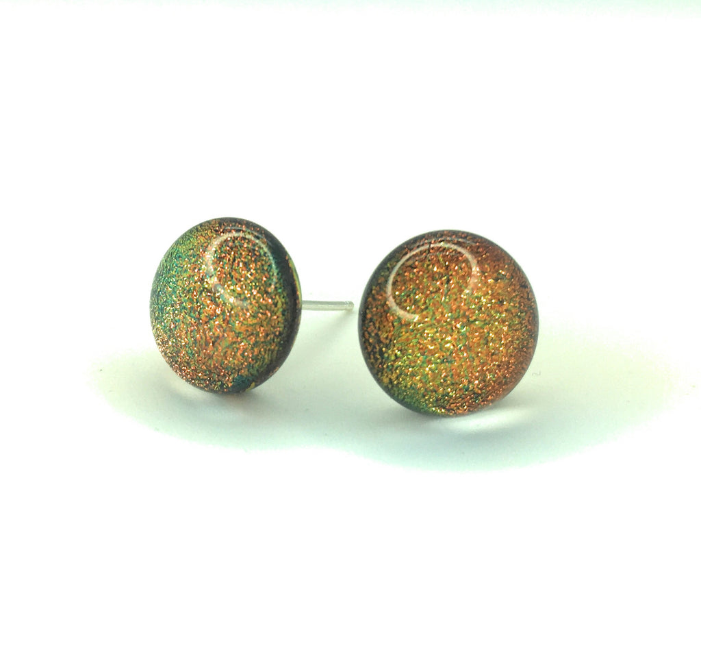 Copper dichroic glass stud earrings on sterling silver backs - hand-made in East Sussex w12Nohw