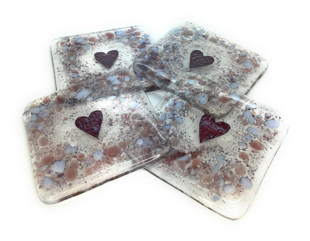 Plum & purple love heart fused glass coasters - set of 4