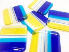 One 'Sunshine State' fused glass coaster with cobalt blue, turquoise & yellow stripes