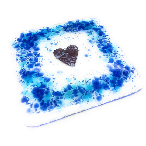 Blue and Turquoise Love Heart Fused Glass Coaster