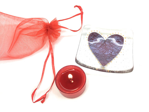Christmas Yankee tea light & fused glass candle holder set
