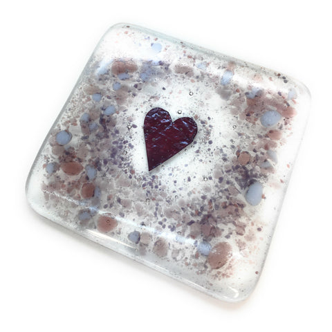 A Plum & Purple love heart fused glass coaster