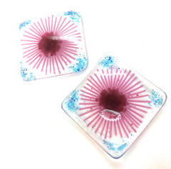 Pink gerbera coaster and trinket dish gift set - handmade fused glass