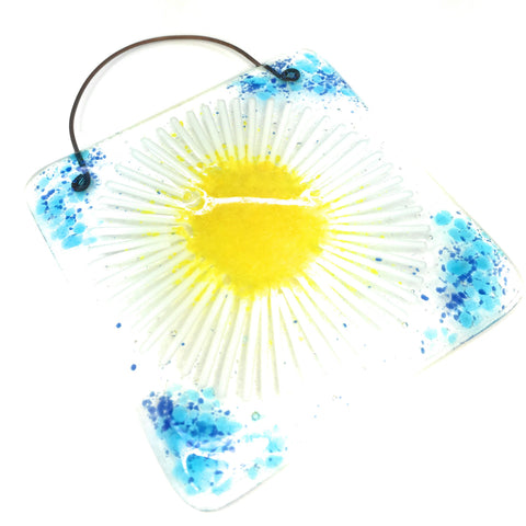 Blue daisy fused glass square lightcatcher art