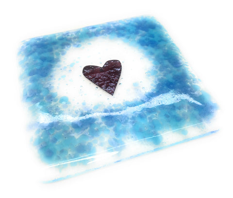 Duck egg blue heart fused glass coaster