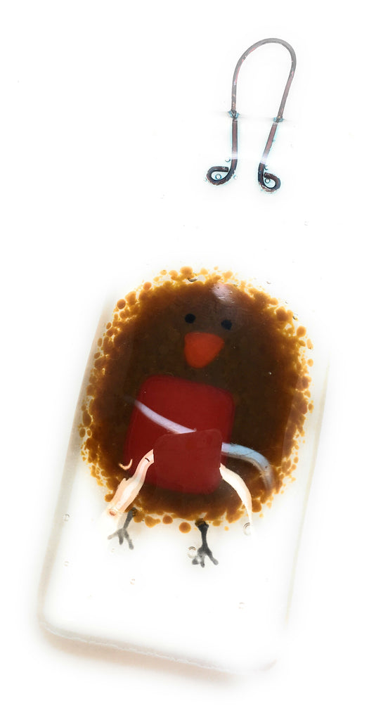 Robin fused glass Christmas decoration ornament