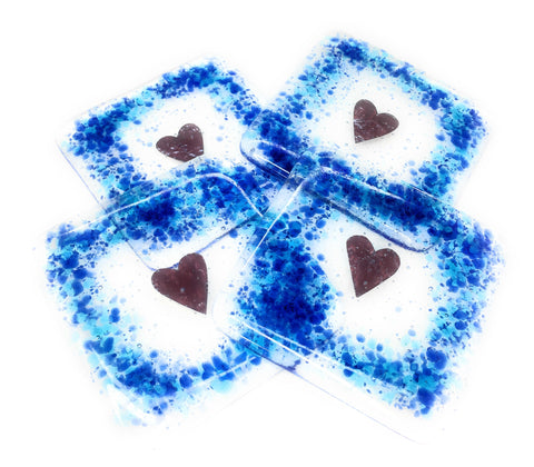 Blue and turquoise love hearts glass coasters - set of four