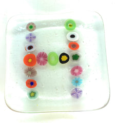 Personalised Trinket Dish Millefiore Flowers in a Letter or Number Pattern