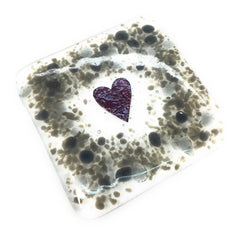 One grey heart fused glass drinks coaster
