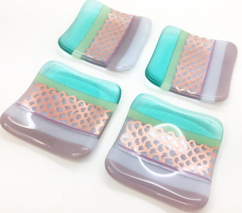 One 'Mermaid' fused glass trinket dish with lilac, aqua and copper scales