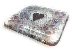Plum & Purple love heart fused glass coaster